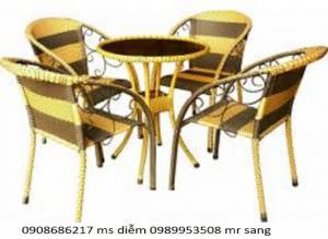 bàn ghế cafe mây nhựa giá rẻ nhất