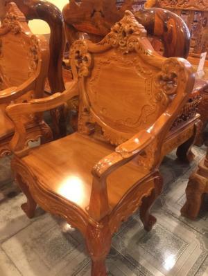 Bộ bàn ghế đẹp kiểu louis gỗ gõ đỏ 8 món-BBG219