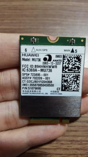WWAN 3G HP Hs3110 - HUAWEI - Model: MU736 - Support HP 820 G1,840 G1, 850 G1,Folio 9480M