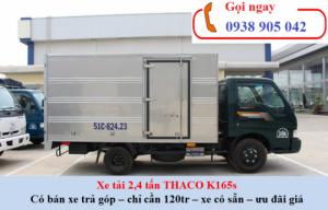 Thaco K165s thùng kín có cửa hông tải trọng 2,3 tấn. Xe phù hợp với khách hàng chở tạp hóa, bia nước ngọt, lúa, gạo, thực phẩm.....