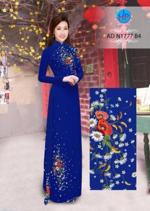 Vải áo dài Hoa cúc đồng tiền và cúc hoạ mi AD N1777