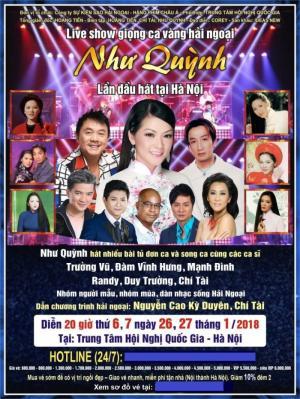 Bán vé Liveshow Như Quỳnh 2018 tại trung tâm hội nghị quốc gia