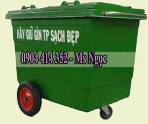 Thùng rác nhựa composite 660 lít .Xe thu gom rác 660 lít, thùng rác 1000 lít 3 bánh xe