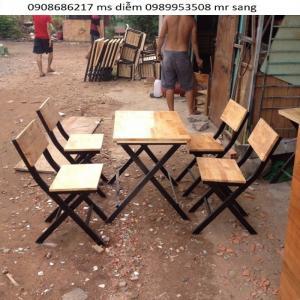Bàn ghế gỗ quán nhậu giá siêu rẻ hgh218