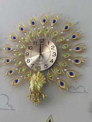 Đồng hồ pha lê/ đồng hồ trang trí Chim Công /...
