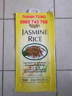 Bao bì gạo 25lbs xuất khẩu may quai xách chưa qua sử dụng, số lượng lớn giá mềm