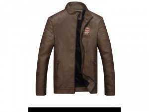 Áo khoác da lót lông thời trang nam có logo bao ngầu