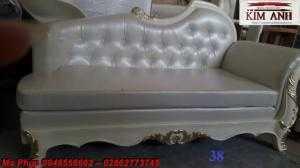 Ghế lười nằm thư giãn màu trắng ms 38 chạm khắc cnc tinh xảo - nội thất Kim Anh
