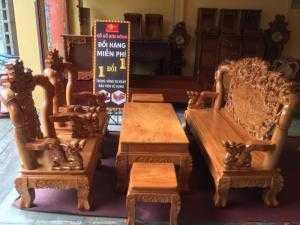 Bộ bàn ghế Đẹp gỗ gõ đỏ Cửu Long hóa trúc 6 món tay 12-BBG663