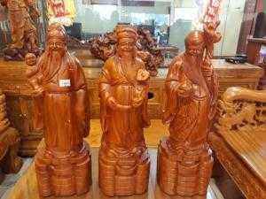 Tượng Tam Đa Phúc - Lộc - Thọ gỗ hương 60cm
