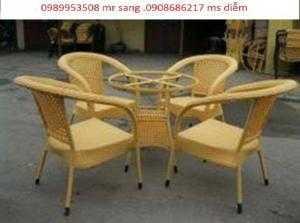 Bàn ghế cafe mây nhựa giá rẻ hgh122