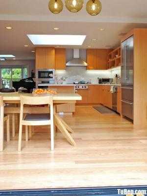 Tủ bếp gỗ Laminate màu vân gỗ chữ L – TBT84