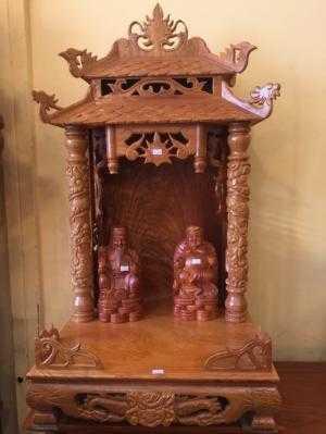 Bàn thờ ông địa mái ngói 50 gỗ gõ đỏ -SD21
