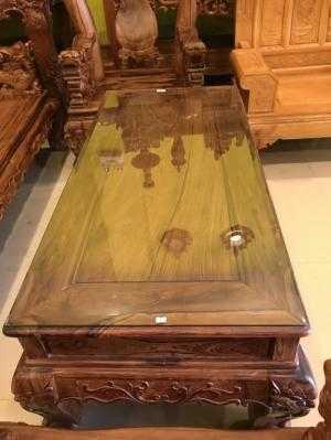 Nội thất Sơn Đông Bộ bàn ghế phòng khách gỗ cẩm lai, cột 12 6 món chạm Lân-BBG866