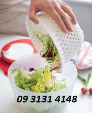 Dụng cụ quay rau Tupperware, rổ quay rau ráo nước, rau không dập nát giữ nguyên giá trị dinh dưỡng của rau