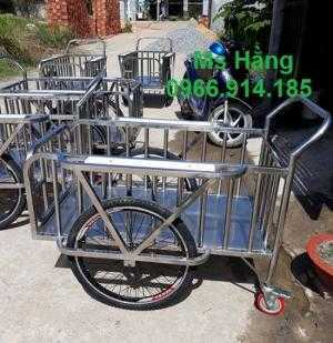 Xe đẩy rác y tế bằng inox 304 có bánh xe dùng trong bệnh viện