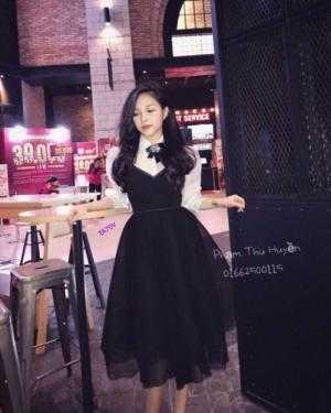Set Áo Sơ Mi Tay Phồng + Đầm Xoè Yếm