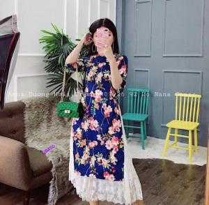 Set áo dài gấm in hoa 3d + chân váy ren