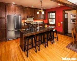 Tủ bếp gỗ Xoan Đào màu vân gỗ chữ I – TBT84