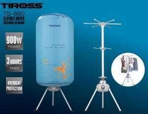 Máy sấy quần áo Tiross TS-880 - Kiểu dáng : Cây sấy tròn. - Công suất: 900W - Điện áp: 220V - 50Hz - Màu sắc: Xanh / hồn