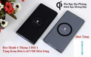 Pin Dự Phòng 10.000mAh Kiêm Sạc Không Dây Chuẩn QI, Bảo Hành 1 Đổi 1+Tặng Kèm Đèn Led USB - MSN181323