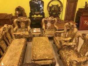 Bộ bàn ghế gỗ nu nghiến cột 14, 10 món - BBG1999 - Đồ Gỗ Sơn Đông