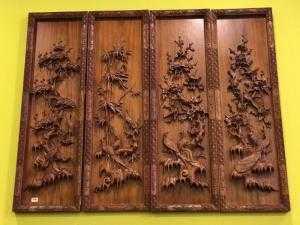 Tranh tứ quý gỗ hương đẹp - LT477 - Đồ Gỗ Sơn Đông