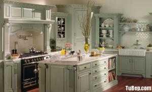 Tủ bếp gỗ Sồi sơn men phong cách bán cổ điển Châu Âu