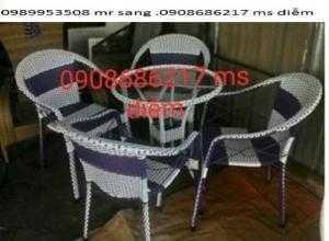 Bàn ghế cafe mây nhựa gía rẻ nhất 0022