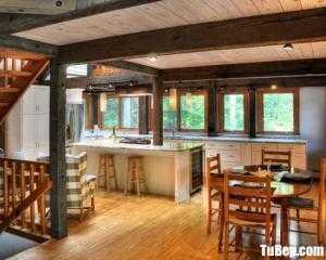Tủ bếp gỗ Căm Xe thiết kế chữ I có bàn đảo tiện dụng – TBT85