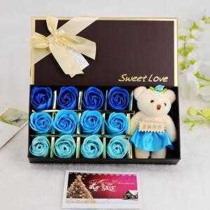 Hộp hoa sáp 12 bông 1 gấu - Qùa tặng valentine cực yêu