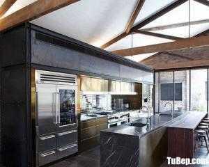 Tủ bếp gỗ Laminate thiết kế sang trọng có bàn đảo – TBT86