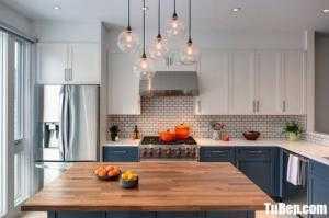 Tủ bếp gỗ Sồi sơn trắng sang trọng kết hợp bàn đảo – TBN0092