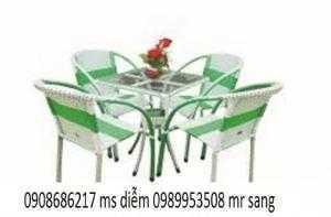 Bàn ghế cafe mây nhựa giá rẻ hgh0022