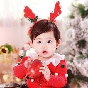 Cài Tóc Cho Bé Noel Sừng Tuần Lộc Đỏ Đính Ngọc Trai