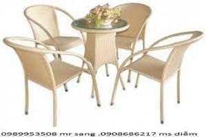 Bàn ghế  cafe mây nhựa giá rẻ hgh0030
