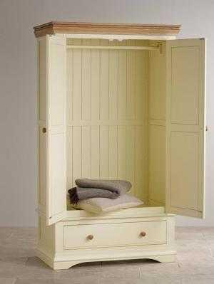 Tủ áo quần 2buồng gỗ sồi Mỹ - Sơn màu trắng kem hoặc trắng tinh