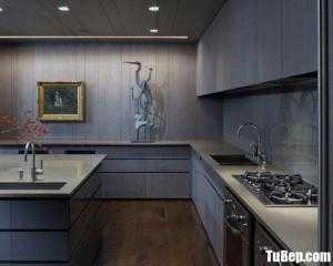 Tủ bếp gỗ Laminate màu vân gỗ chữ L thiết kế hiện đại – TBT88