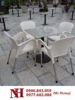 Trọn bộ bàn ghế cà phê nữ hoàng, nhựa nguyên chất