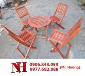 Bộ bàn ghế gỗ xếp cà phê, bàn tròn