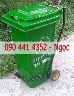 Gía thùng rác 120 - 240 lít có chân đạp, thùng rác nắp kín màu xanh lá . Thùng rác giá rẻ tpHCM