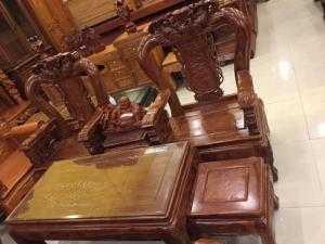 Bộ bàn ghế cá chép gỗ hương