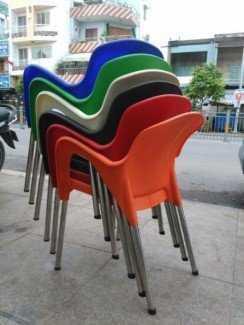 Ghế nhựa chân inox đủ màu sắc lựa chọn