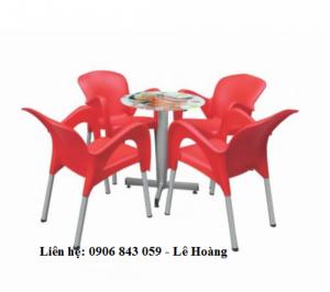 Bàn ghế nhựa nữ hoàng, kinh doanh cà phê, màu đỏ, nhiều mẫu bàn kết hợp