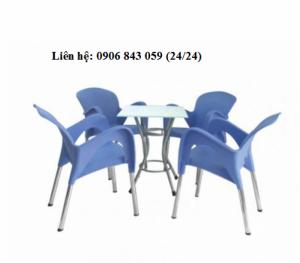 Bộ bàn ghế nhựa kinh doanh cà phê, màu tím, giao hàng miễn phí