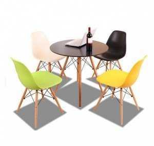 Bàn ghế cafe nhựa chân gỗ cao cấp