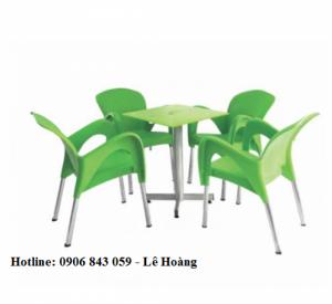 Thanh lý bộ bàn ghế cafe nhựa đúc, chân inox