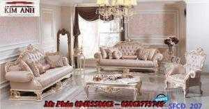 Sofa tân cổ điển phòng khách ms SFCĐ_207 màu hồng pastel giá ưu đãi