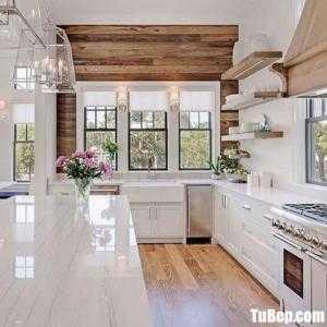 Tủ bếp chữ L chất liệu Sồi sơn men trắng kết hợp bàn đảo – TBN0098