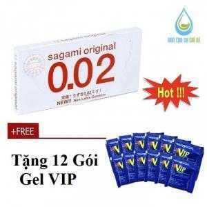 Bao cao su Sagami Original 0.02 (Hộp 2 Cái) Tặng gel VIP